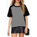 Boyfriend Style Contrast Raglan Short Sleeve Striped Color Block Tee