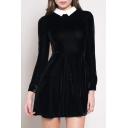 Contrast Lapel Long Sleeve Cutout Back Plain Velvet Mini Dress