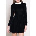 Contrast Lapel Long Sleeve Cutout Back Plain Velvet Mini Dress