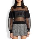 Women's Fashion Patched Round Neck Long Sleeve Sheer Organza Casual Sweatshirt