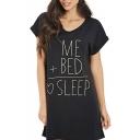 New Stylish Letter Formula Printed Short Sleeve Round Neck Mini T-Shirt Dress