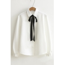 Bow Tied Lapel Single Breasted Long Sleeve Plain Button Down Shirt