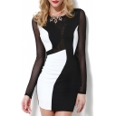 Sexy Single Button Backless Black White Patched Mesh Sheer Pencil Mini Dress