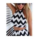 Women's Fashion Wave Striped Print Halter Neck Sleeveless crop Top Mini A-Line Skort