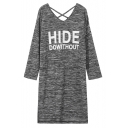 Women's Casual V-Neck Long Sleeve Letter Print Heather Loose Fashion Tee Dress