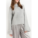 New Arrival Half High Neck Bell Long Sleeve Plain Pullover Sweater