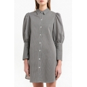 New Stylish Lantern Long Sleeve Single breasted Lapel Vertical Striped Mini Shirt Dress