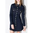 New Stylish Lapel Single Breasted Long Sleeve Mini Denim Shirt Dress