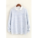 Women's Oversized Round Neck Long Sleeve Heather Pullover Sweater