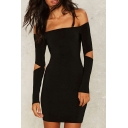 Women's Fashion Off the Shoulder Cut Out Sleeve Bodycon Mini Dress