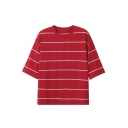 Women's Round Neck Half Sleeve Striped Print Casual Tee