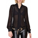 Sexy Sheer Chiffon Long Sleeve Embellished Necktie Plain Blouse