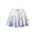 Plum Print Elegant Mini Skirt