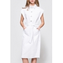 Plain Lapel Single Breasted Belt Waist Short Sleeve Midi Shirt Dress