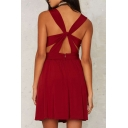 Sexy Crisscross Back Plunge V-Neck Plain Mini Party Dress