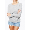 Sexy Cutout V-Back Round Neck Long Sleeve Plain Sweater