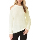Chic Round Neck Cold Shoulder Raglan Long Sleeve Plain Sweater