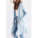 New Stylish Cowl Neck Oblique Zipper Placket Plain Tunic Denim Coat
