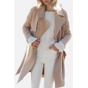 Chic Notched Lapel Long Sleeve Single Breasted Plain Tunic Coat