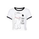 Women's Contrast Round Neck Short Sleeve Cartoon Dog Print Basic Tee