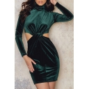 Sexy Cutout Waist High Neck Long Sleeve Plain Mini Bodycon Dress