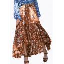 Fashion Boho Style Ruched High Low Hem Floral Printed Asymmetric Skirt