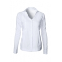 Casual V-Neck Single Breasted Long Sleeve Ruched Sides Plain Button Down Shirt