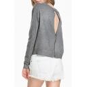Sexy Cutout Zip-Back Round Neck Long Sleeve Plain Sweater