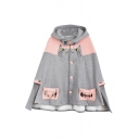 Cute Hooded Cat Fish Pattern Single Breasted Color Block Cape with Two Pockets