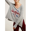 Sexy V-Neck Long Sleeve Printed Split Sides Sweater Top