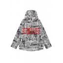 New Stylish Graffiti Print Hooded Long Sleeve Casual Coat