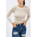 Chic Vertical Striped Round Neck Long Sleeve  Cropped Pullover Sweater