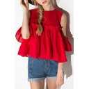 Sexy Lovely Cold Shoulder Round Neck Ruffle Front Plain Blouse Top