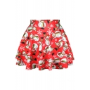 Christmas Theme Print Fitted A-Line Mini Skirt