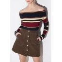Sexy Fashion Off the Shoulder Striped Color Block Long Sleeve Sweater
