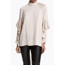 New Stylish Ruffle Raglan Long Sleeve Half High Neck Plain Blouse Top