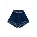 New Fashion Elastic Waist Raw Edge Contrast Stitching Oversize Shorts