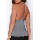 Women's Sexy Y-Back Halter Scoop Neck Sleeveless Plain Loose Tank