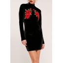 New Fashion High Neck Embroidery Floral Pattern Long Sleeve Mini Bodycon Dress