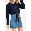 New Stylish Tied Lapel Long Sleeve Plain Single Breasted Button Down Shirt