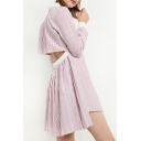 New Stylish Cutout Back Contrast Lapel Single Breasted Vertical Striped Shirt Dress