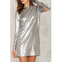 New Stylish Long Split Sleeve Round Neck Plain Tunic T-Shirt
