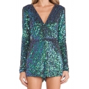 New Stylish Sexy Sequined Plunge V-Neck Long Sleeve Rompers