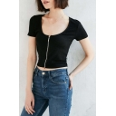 New Fashion Zipper Placket Scoop Neck Short Sleeve Plain Cropped Tee