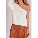 Women's Fashion One Shoulder Long Sleeve Plain Casual Pullover Sweater
