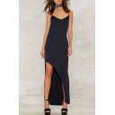 Sexy V-Neck Spaghetti Straps Sleeveless Asymmetric Hem Maxi Dress