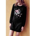 Casual Embroidery Floral Pattern Long Sleeve Round Neck T-Shirt Dress