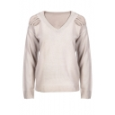 Fashion V-Neck Cutout Shoulder Long Sleeve Plain Pullover Sweater
