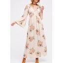 Fashionable V-Neck Long Sleeve Floral Printed Belt Waist Maxi A-Line Dress