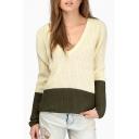 Boyfriend Style Plunge V-Neck Long Sleeve Color Block Sweater